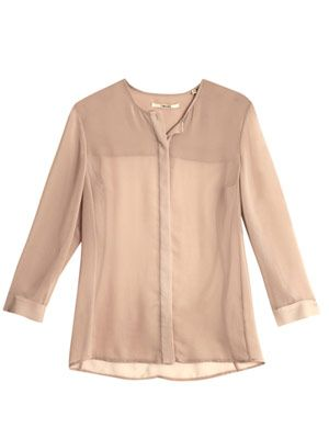 Juliette collarless sheer blouse