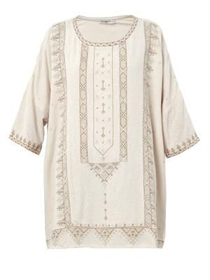 Zephir embroidered textured-silk tunic
