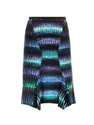 Tiger-print waterfall hemline skirt