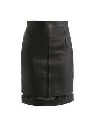 Fish-wire detail leather skirt