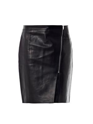 Asymmetric zip leather pencil skirt