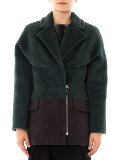 Alexander Wang Bi-colour brushed alpaca coat