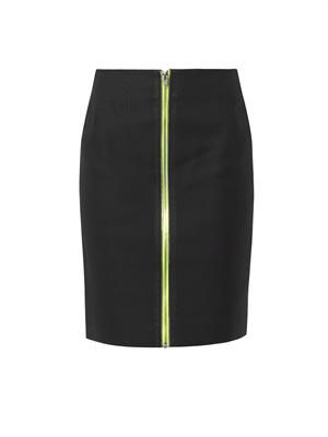 Contrast-zip double-faced cotton skirt