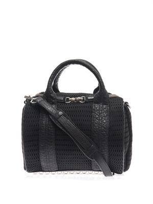 Rockie mesh and leather cross-body bag