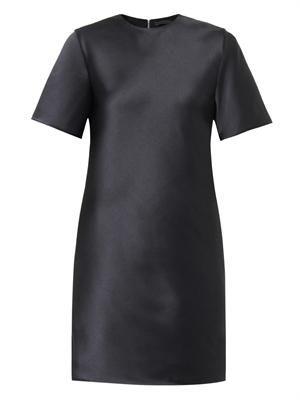 Fringe-detail silk-twill dress
