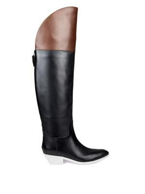 Lovanni contrast-panel riding boots