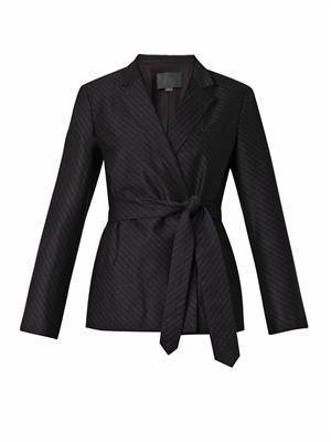 Pinstripe flannel-wool blazer
