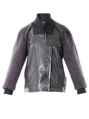 Mohair sleeve bomber jacket