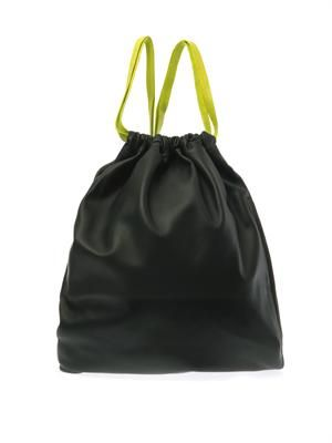 Dark-green leather drawstring backpack