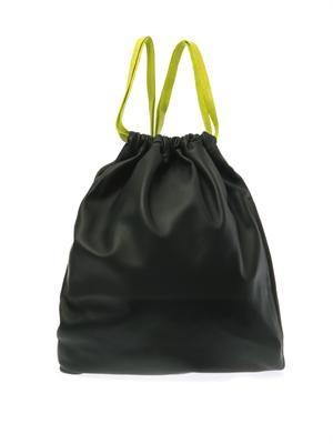 Dark-green leather drawstring backpack