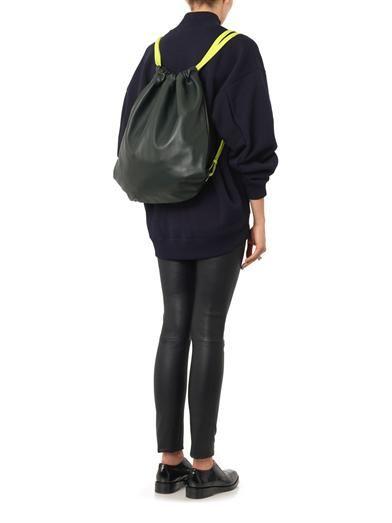 Alexander Wang Dark-green leather drawstring backpack
