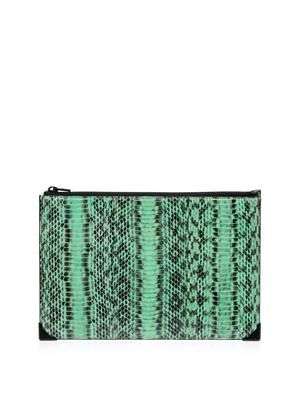 Prisma snake and leather clutch
