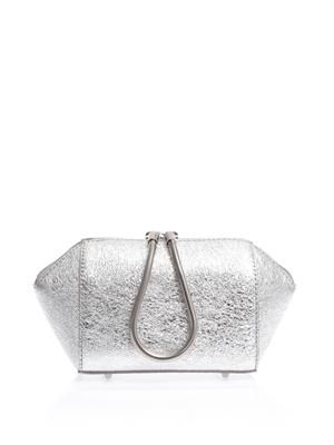 Chastity metallic leather clutch