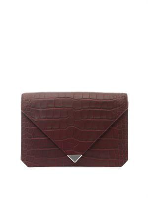 Prisma embossed-leather clutch
