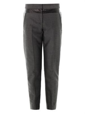Leather panel wool trousers