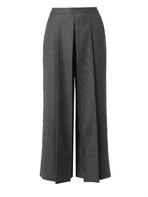 Pleated-front cropped tailored trousers