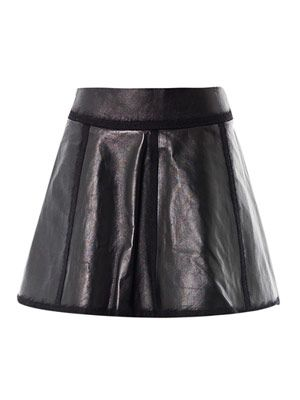 Mohair trim leather skirt