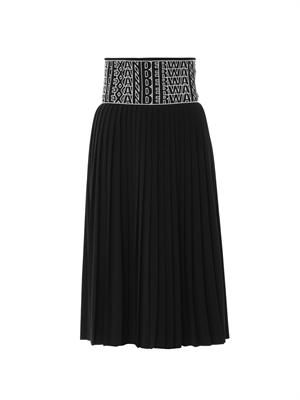 Logo-embroidered pleated skirt