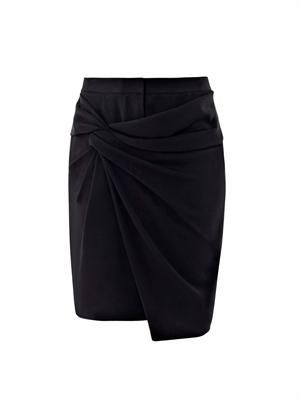 Twill twist wrap skirt