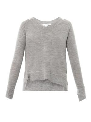 Asymmetric fine-knit wool sweater