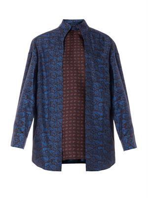 Layered paisley-print silk blouse