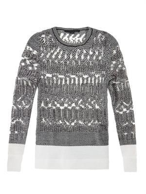 Burnout Fair Isle knit sweater