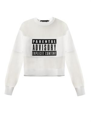 Parental Advisory mesh sweatshirt