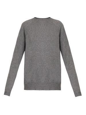 Sheer peel-away knit sweater