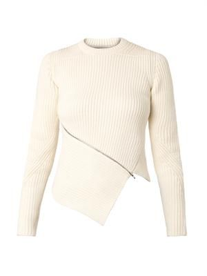 Asymmetric zip ribbed-knit sweater