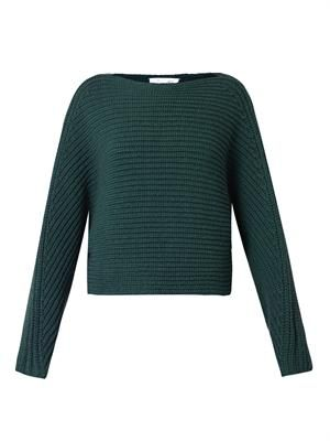 Tubular-knit wool cropped sweater