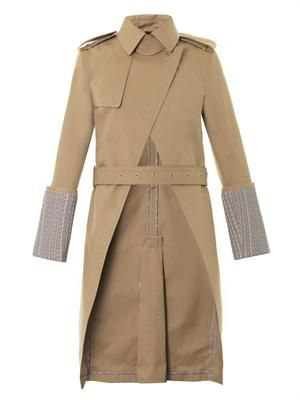 Logo-print cuff trench coat
