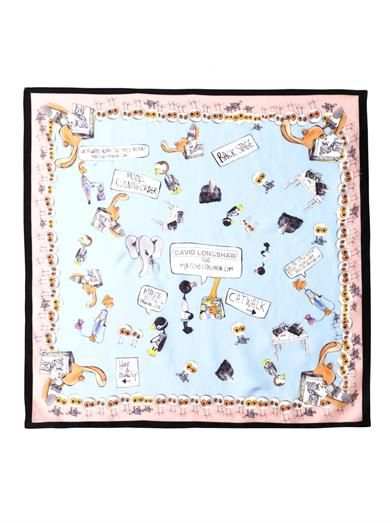 David Longshaw X MATCHESFASHION.COM Maude illustration scarf by David Longshaw