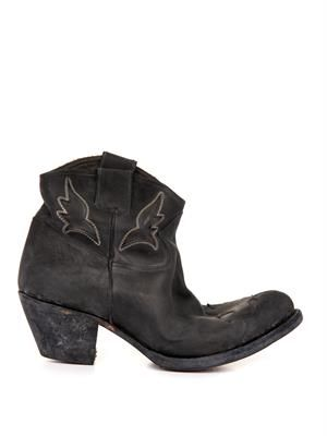 Sydney distressed-leather ankle boots