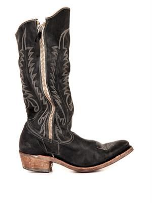 Western long leather boots