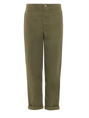 High-rise chino trousers