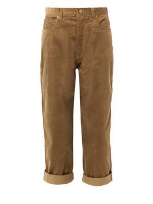 High-waist corduroy trousers
