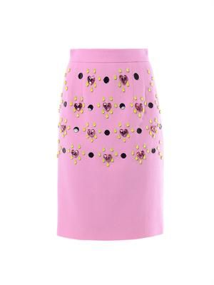 Heart jewel-embellished pencil skirt