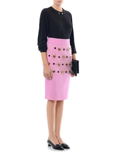 Honor Heart jewel-embellished pencil skirt