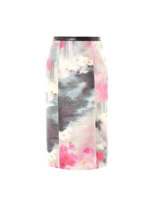 Watercolour-print silk pencil skirt