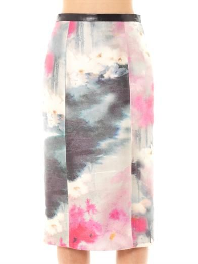 Honor Watercolour-print silk pencil skirt