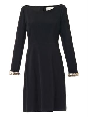 Embellished-cuff crepe dress