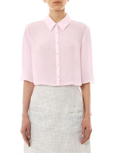 Honor Contrast-collar silk shirt