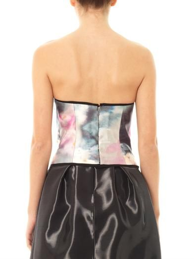 Honor Watercolour-print bustier top