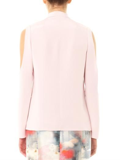 Honor Open shoulder silk-cady blouse