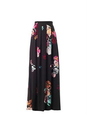 Rose-print pleated maxi skirt