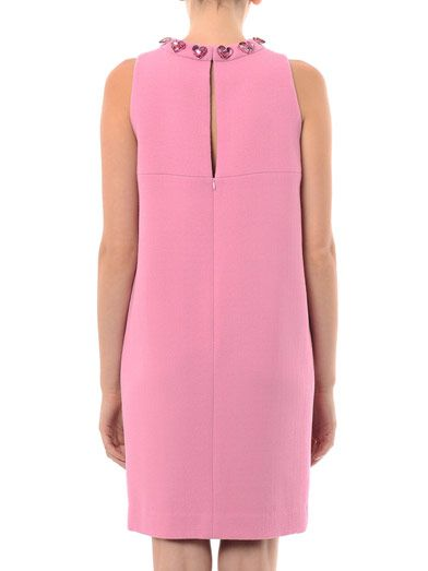 Honor Heart jewelled wool-crepe shift dress