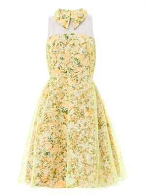 Floral-print organza silk dress