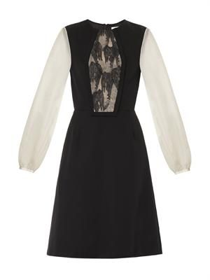 Lace-panel bi-colour dress