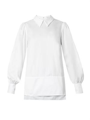 Balloon-sleeve cotton shirt