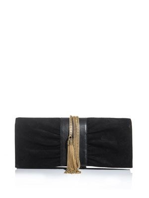 Janis gold-chain and suede clutch